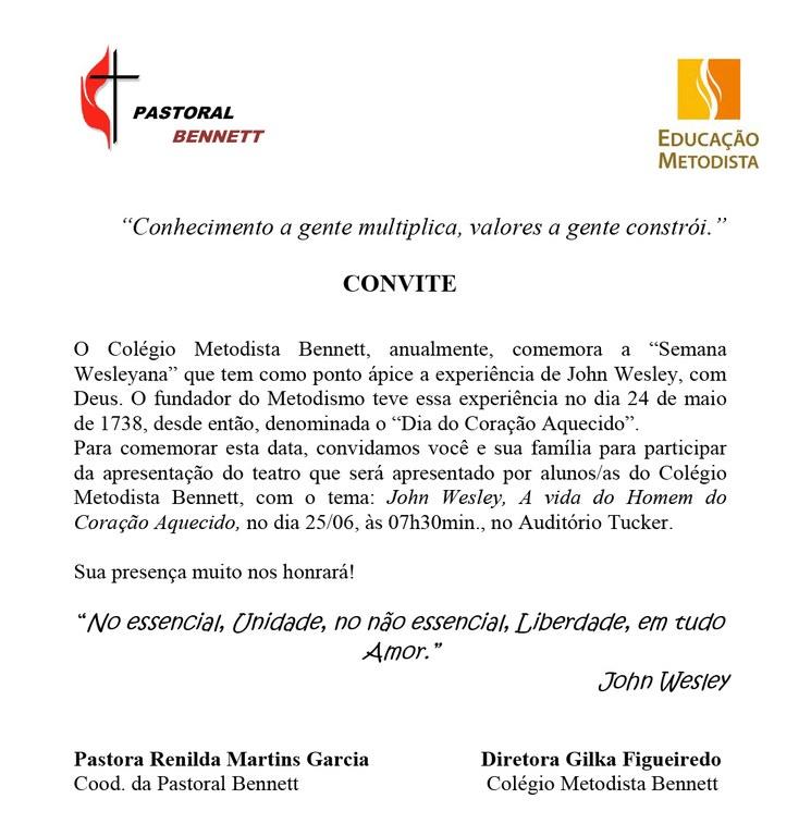 Convite Para Apresentação Teatral Colégio Metodista Bennett
